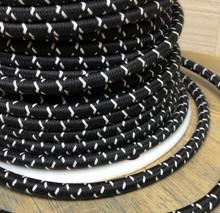 Black w/ White Cross-Stitch Tracer Round Cloth Covered 3-Wire Cord, Cotton - PER FOOT
