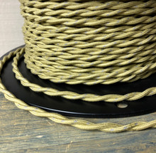 Antique Gold w/ Gray Tracer, Twisted Cloth Covered Wire, Cotton