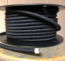 Black 14-Gauge Round Cloth Covered 3-Wire Cord, Cotton