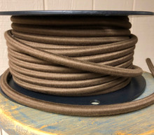 Brown 14-Gauge Round Cloth Covered 3-Wire Cord, Cotton