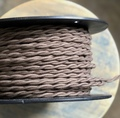 Brown Twisted Cloth Covered Wire (16 Gauge), Cotton - PER FOOT