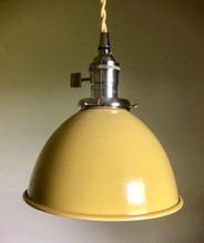 "Yellow Porcelain Enamel Shade: 7"" Industrial Metal Dome"
