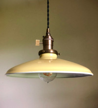 "Yellow Porcelain Enamel Shade: 10"" Rounded Industrial Metal"