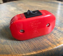 Inline Cord Switch - Red Switch (Black Rocker) - Feed Through Switch