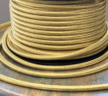 Brass Metal Braided Cord - Round 3-Wire Cable - PER FOOT
