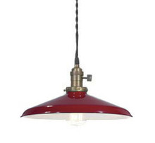 "Red Porcelain Enamel Shade: 12"" Rounded Industrial Metal"