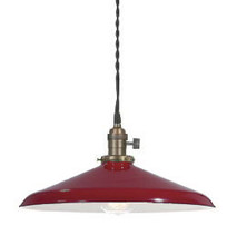"""Red Porcelain Enamel Shade: 14"""" Rounded Industrial Metal"""