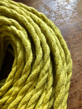 Yellow Jute Covered (Rope Style) Twisted Wire - PER FOOT