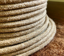 Jute Covered (Rope Style) 3-wire Round Cord - PER FOOT