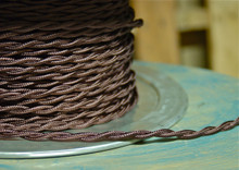 brown twisted cloth covered 2 wire