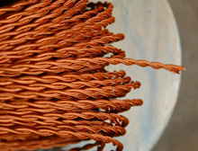 copper color twisted cloth covered 2 wire