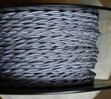 silver twisted cloth covered 2 wire