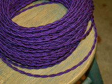 purple twisted cloth covered 2 wire