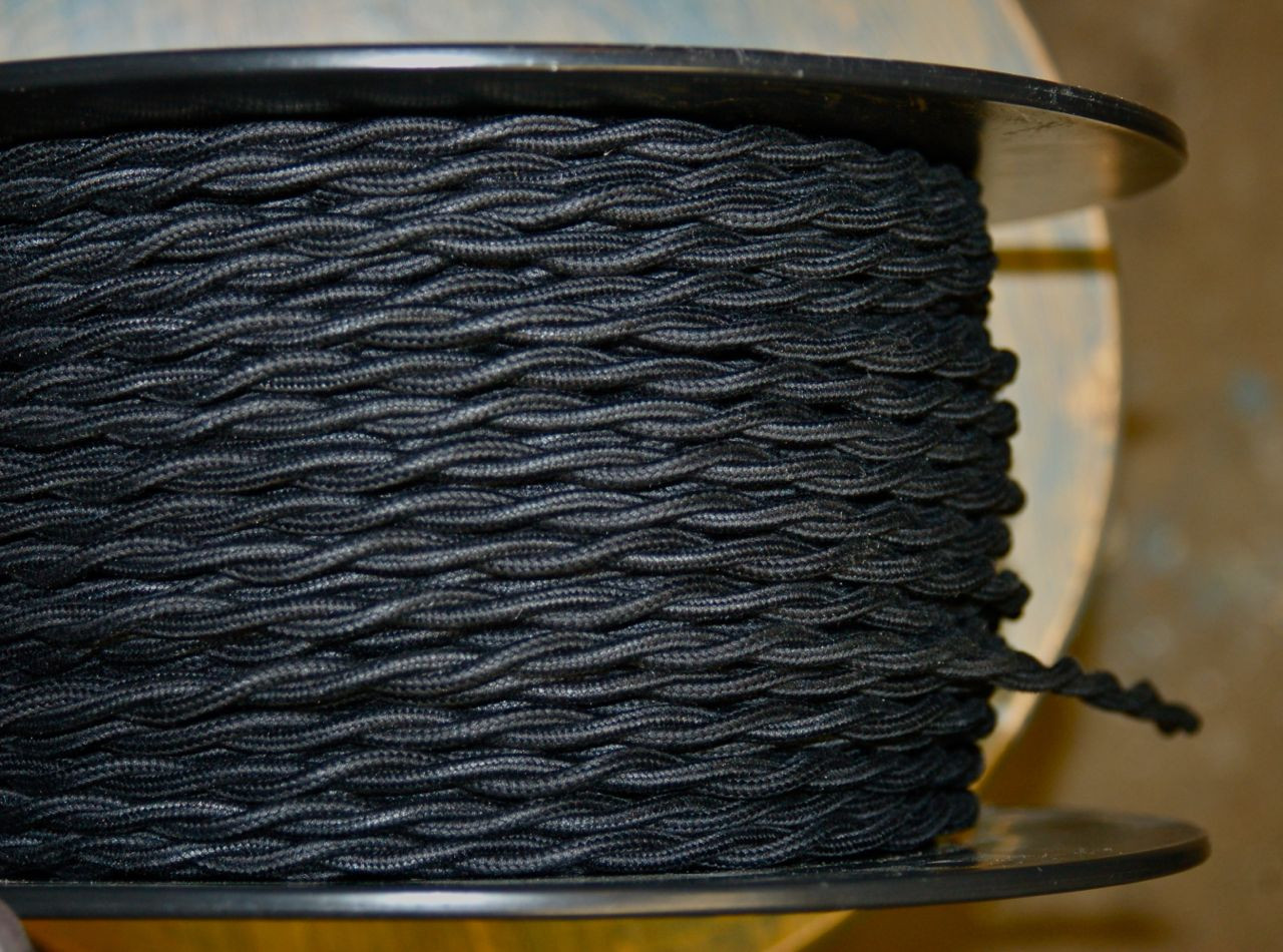 Black Twisted Cloth Covered Wire Cotton Per Foot Snake Head Vintage