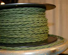 green cotton twisted cloth covered 2 wire