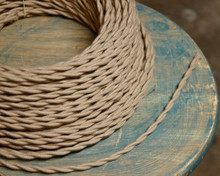 tan beige cotton twisted cloth covered 2 wire