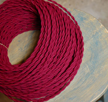 red wine plum cotton twisted cloth covered 2 wire