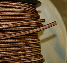 brown parallel flat cloth covered 2 wire