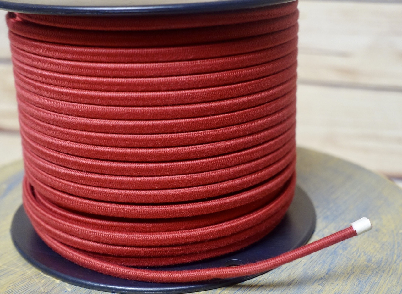 red parallel (flat) cloth covered wire, cotton per foot snakeFoot Per Wiring #6