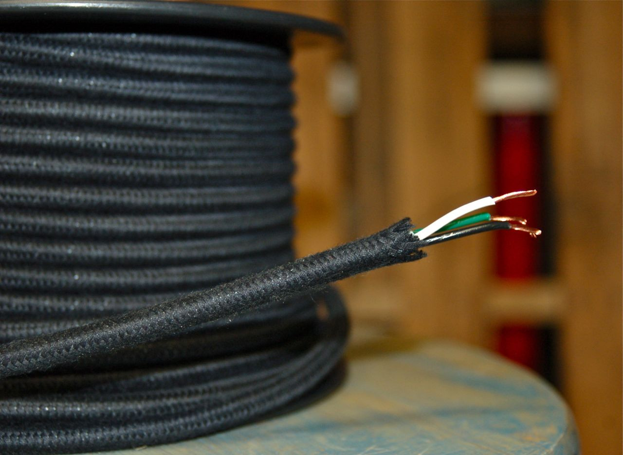 Black Round Cloth Covered 3 Wire Cord Cotton Per Foot Snake What Is The In Electrical Wiring Loading Zoom