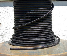 Black Round Cloth Covered 3-Wire Cord, Rayon - PER FOOT