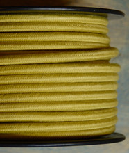 gold round cloth covered 3 wire