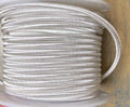 White Round Cloth Covered 3-Wire Cord, Rayon - PER FOOT