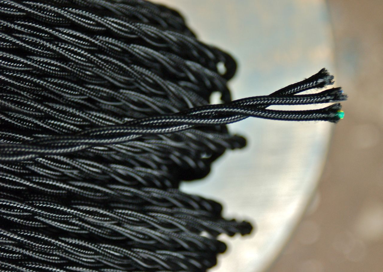 BLACK /& BROWN ~ Antique Look Cloth Covered TWISTED Lamp Wire Cord ~ Per Foot