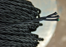 black twisted cloth covered 3 wire