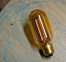 Radio Style Light Bulb, Tubular Smoked Amber Glass Vintage Edison Reproduction 30 Watt