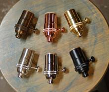 Solid Brass Light Socket, 3-Way Turn Knob