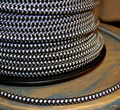 Black & White Hounds-Tooth Round Cloth Covered 3-Wire Cord, Nylon - PER FOOT