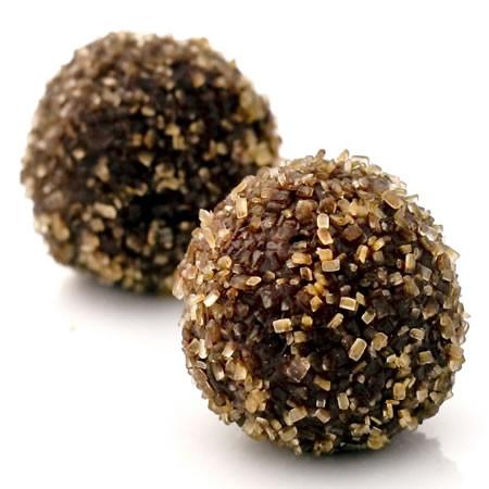 Blame Canada: dark chocolate truffles with double maple