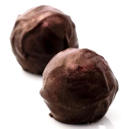 Razzmanian Devil: dark chocolate truffles with organic black raspberry & raspberry brandy