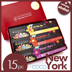 CocoNewYork: 5 pc each of Planet Marz (toasted almond with Kirsch dark chocolate truffles), Yo-Ho-Ho (Caribbean dark rum dark chocolate truffles), and Godfather (Italian espresso, rum and almond dark chocolate truffles)