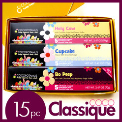 CocoClassique handmade chocolate truffle set. Contains 5 pc truffle box each of Bo Peep, Cupcake, and Holy Cow.