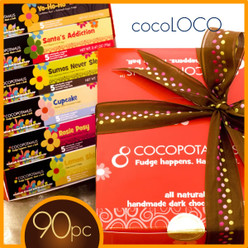 CocoLoco: 90 pieces of decadent chocolate truffles in a Cocopotamus chocolate gift box.  All Cocopotamus chocolate truffles are handmade, all natural and gluten-free.