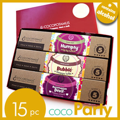CocoParty: assorted chocolate truffles with liqueur in a 15 pc chocolate truffle gift box