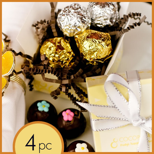 Wedding chocolate favors: your choice of 4 pieces of handmade chocolate truffles from our selection of all natural, handmade and gluten-free chocolate truffles.