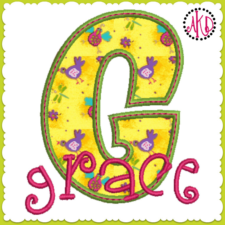 Funky applique stacked font and numbers machine embroidery