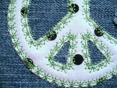 No 472 Applique Peace Sign Machine Embroidery Designs