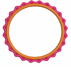No 840 RicRac Applique Circle Font Frames Embroidery Designs
