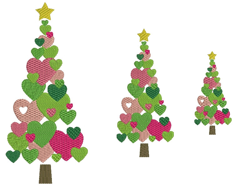Swirly and heart christmas tree machine embroidery designs