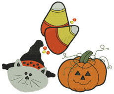 No 84 Halloween Embroidery Designs CAT Pumpkin Candy Corn