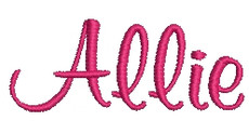 No 349 Girly Font Machine Embroidery Designs 1 inch high