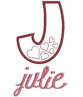 """We used our #25 Elegant Stacked Monogram lowercase letters to spell """"julie"""""""