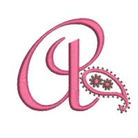 No 6 Paisley Font Machine Embroidery Designs 2.5 inch high