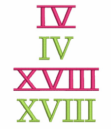Picture of all Roman Numerals included in this set