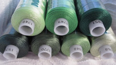 Bundle #5 SHADES of GREEN Madeira Polyneon Polyester 40 weight Thread Spools - 1100 yards each