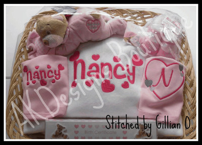 Customer stitched example of the Viola Font - she used the #330 & # 369 sizes.